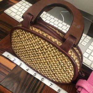 Set of 2 woven vintage mini purses wooden handles!